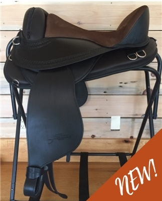 Freeform Pathfinder Treeless Saddle on a saddle rack.